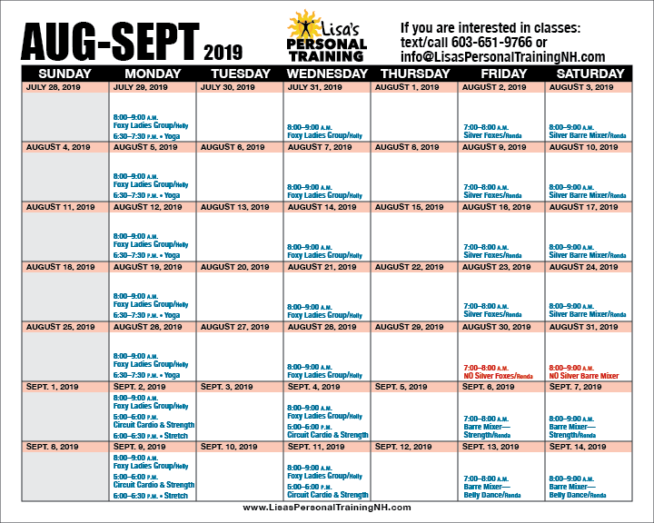 Group Class Schedule at Lisa's Personal Training in Ashland, New Hampshire