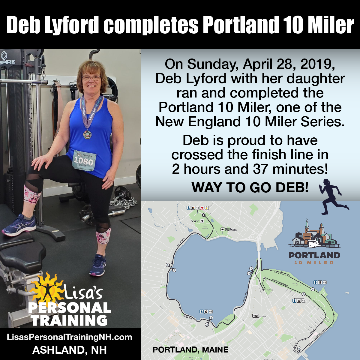 Deb Lyford completes Portland Maine 10 Miler