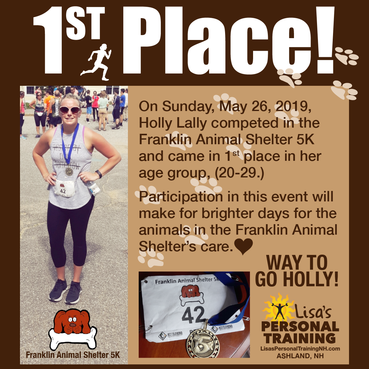 Holly Lally takes 1st place in her age group at the Franklin Animal Shelter 5K, May 26, 2019