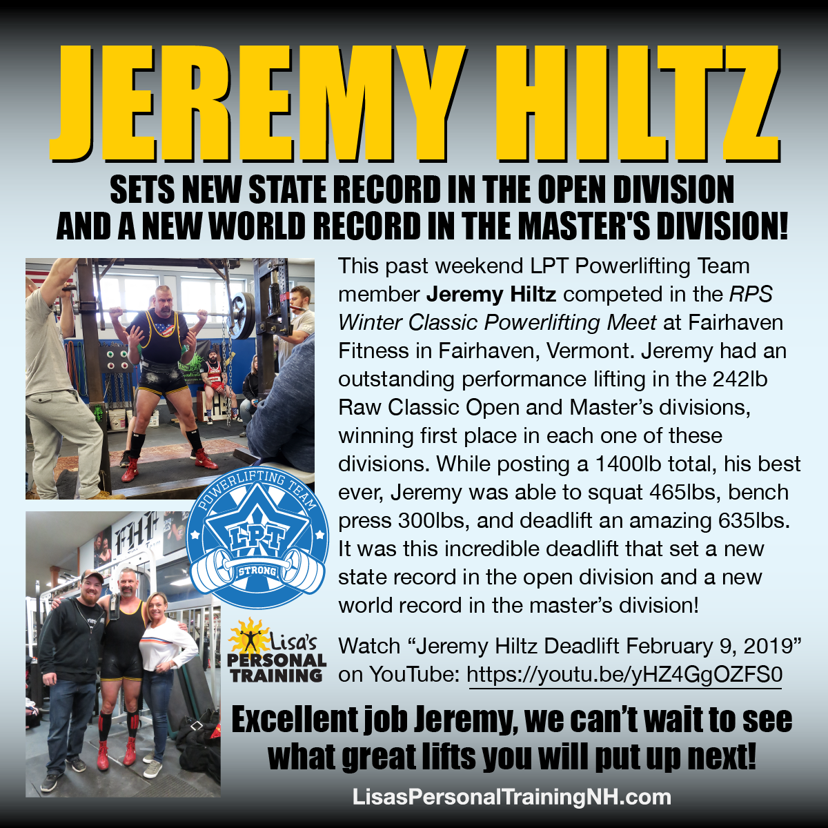 Jeremy Hiltz sets state record and a new world record