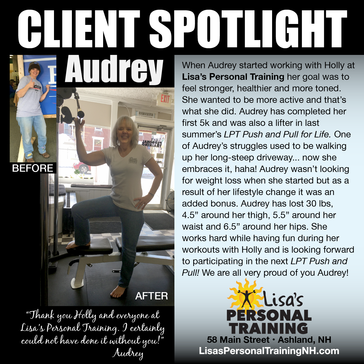 Audrey Garretson at Lisa's Personal Training