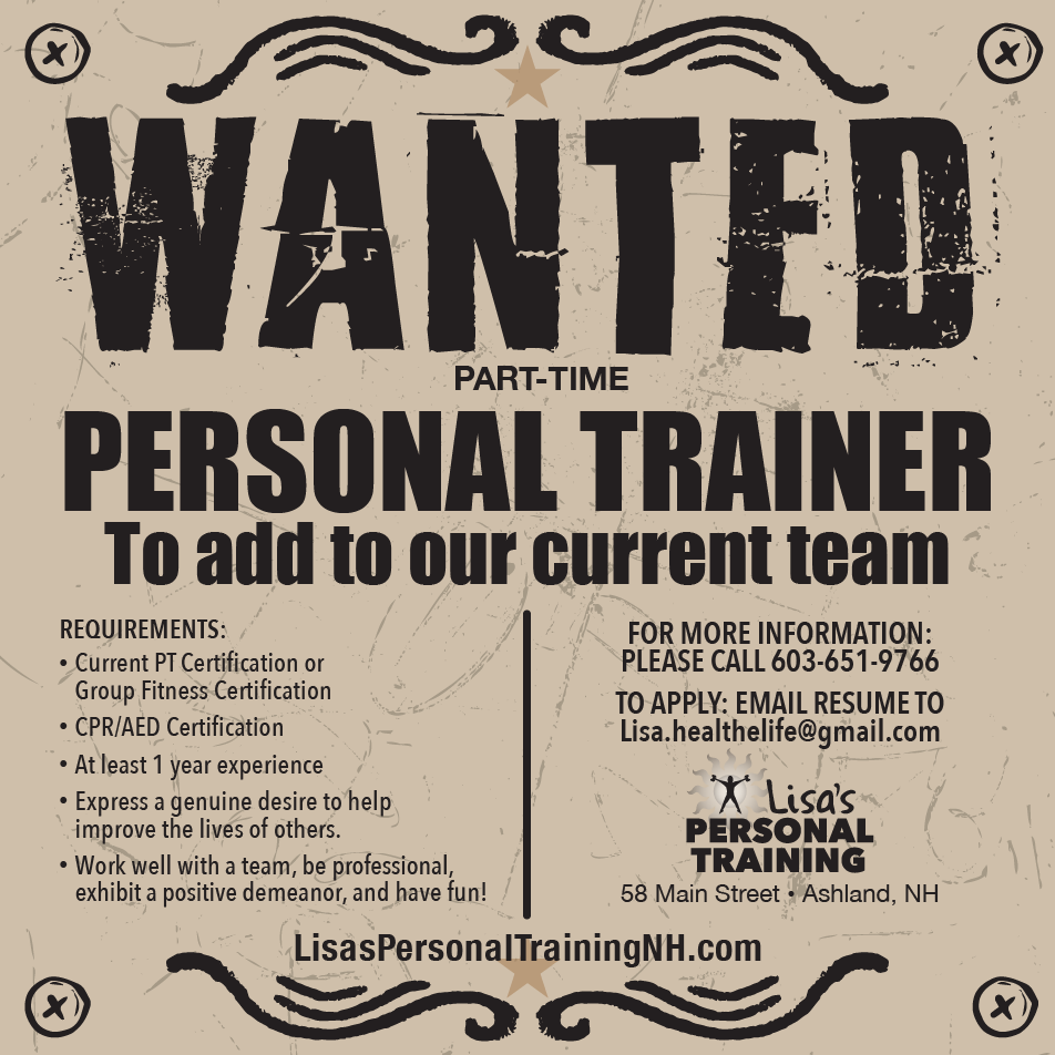Job opportunity at Lisa's Personal Training
