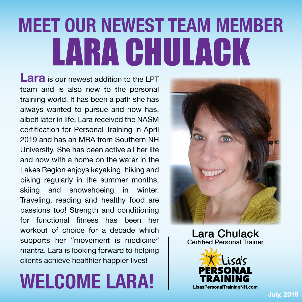Welcome Lara Chulack to Lisa's Personal Training in Ashland, NH