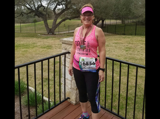 Deb Lyford completed her half marathon in Texas!