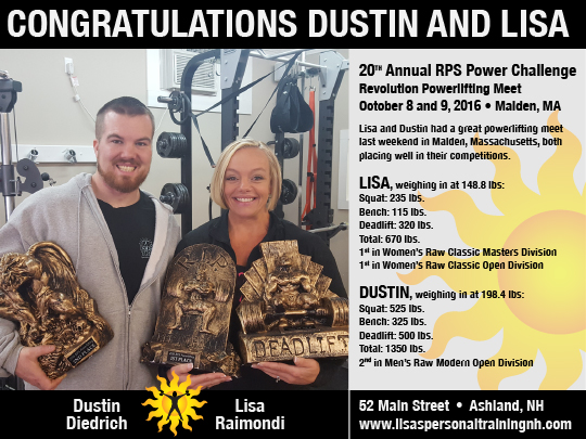 Lisa and Dustin wins trrophies in powerlifing competition