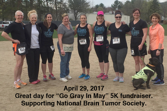 Great day for Go Gray In May 5K fundraiser. Supporting National Brain Tumor Society.